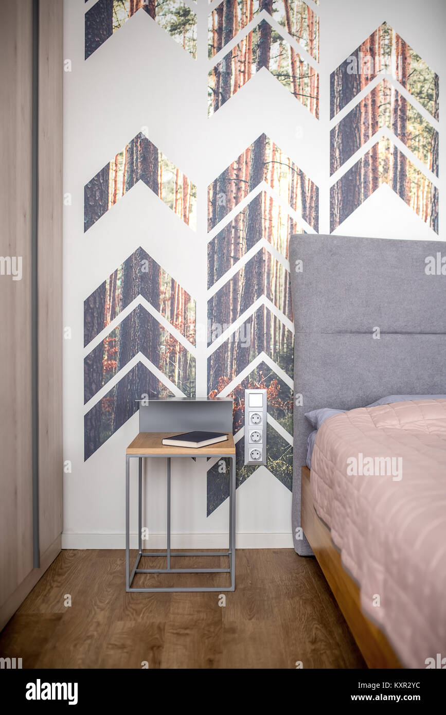 Contemporary bedroom with a colorful wall with pine prints. There is a bed with a peach coverlet and a gray pillow, - Stock Image