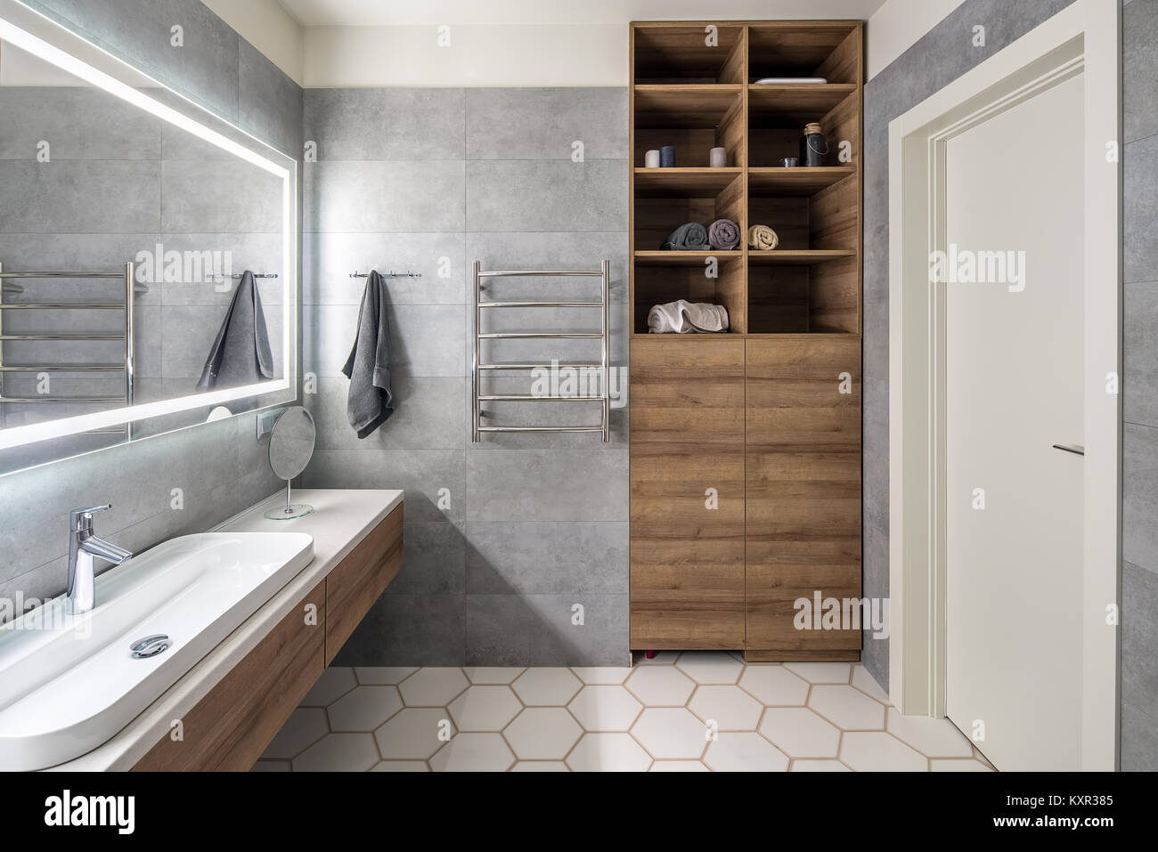 Contemporary Bathroom With Gray And White Tiles There Is