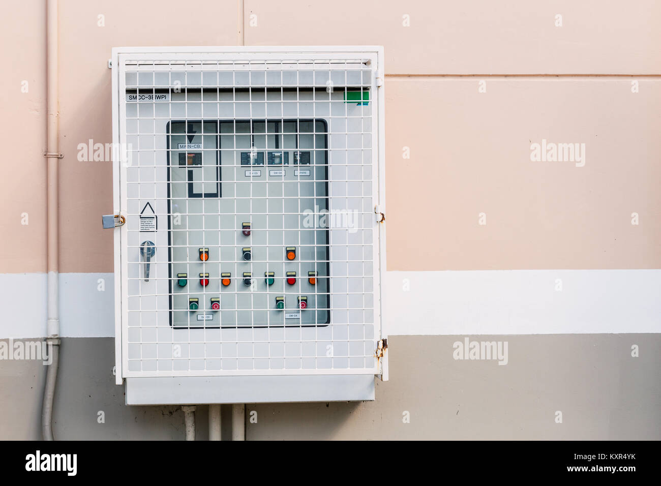 Outdoor Electricity switch power control safety box on wall with space for text Stock Photo