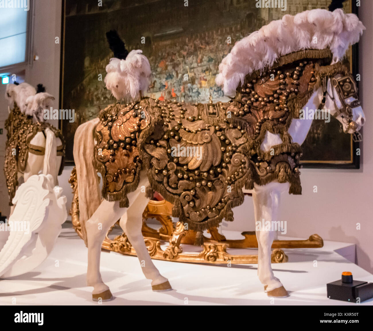 Decorated  horses and and fairytale carriages  used by the Habsburg  Monarchy,  Imperial Carriage Museum, Schönbrunn, - Stock Image