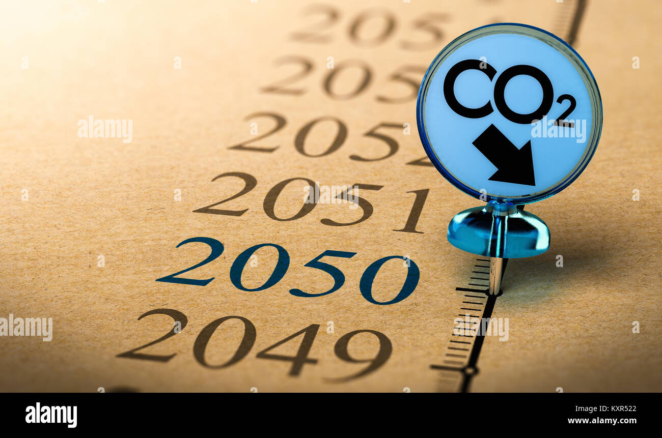 Special Pushpin with the text co2 pined on a timeline in front of the year 2050. Concept of climate plan and carbon - Stock Image