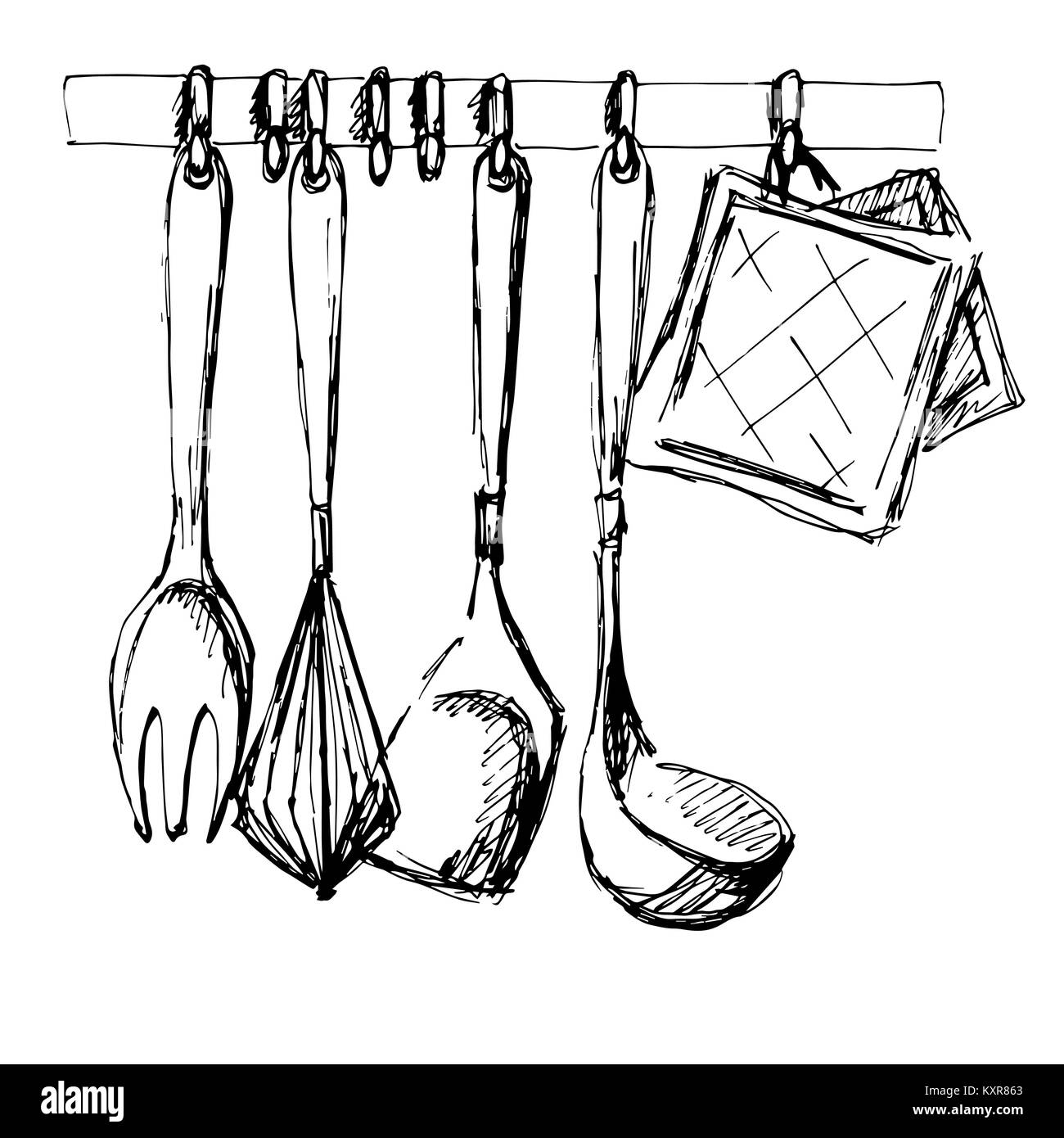 Kitchen utensils.Vector illustration in a sketch style Stock Vector ...