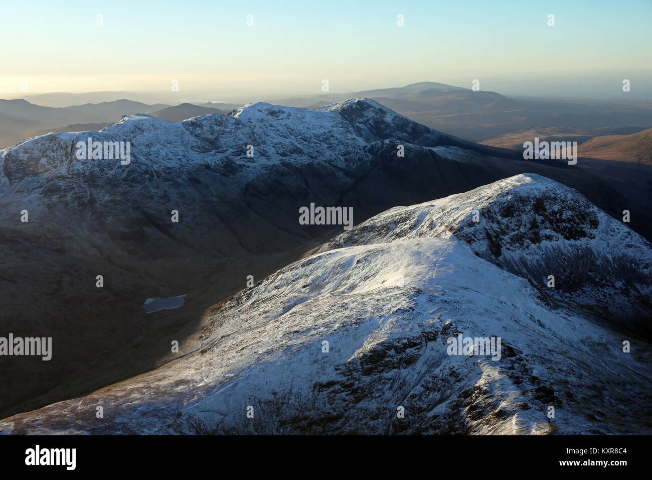 aerial view of mountain tops in the Lake District, Cumbria, UK - Stock Image