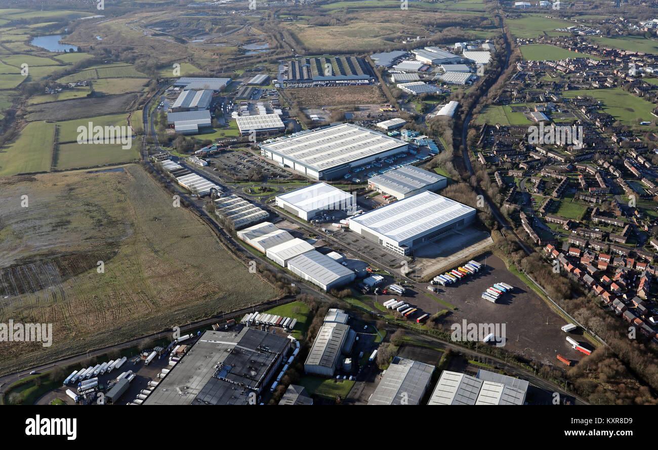 aerial view of Heywood Distribution Park, Lancashire, UK - Stock Image