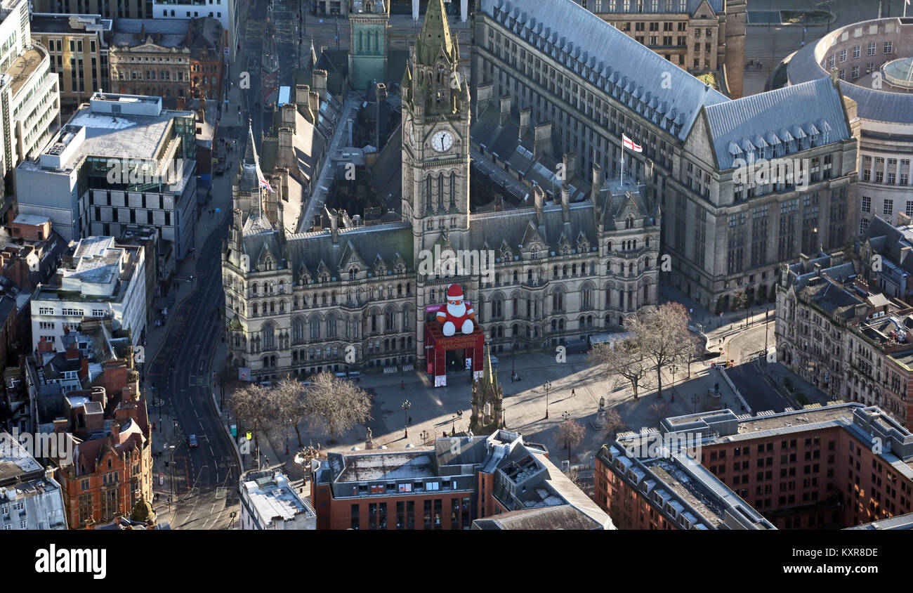 aerial view of Manchester Town Hall at Christmas, UK - Stock Image