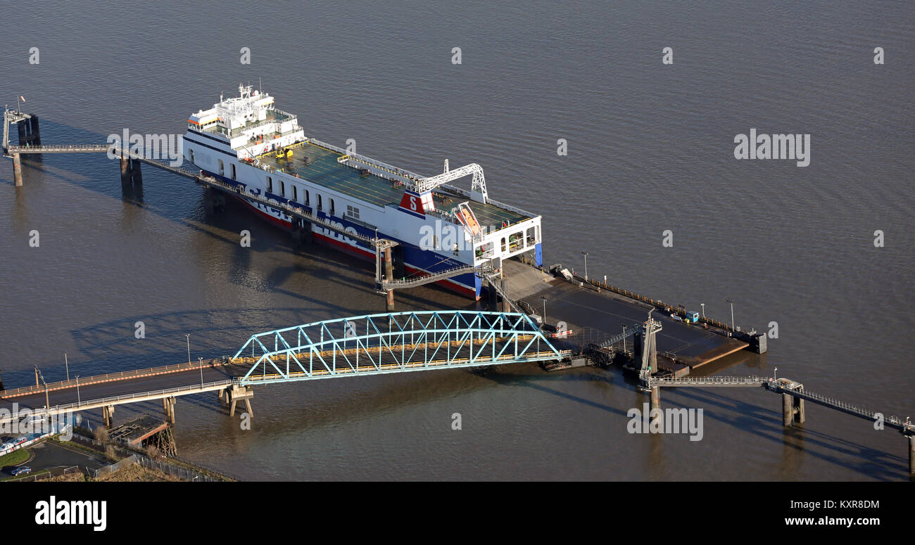 aerial view of the Stena Precision, Douglas, Mersey Ferry at Birkenhead, UK - Stock Image