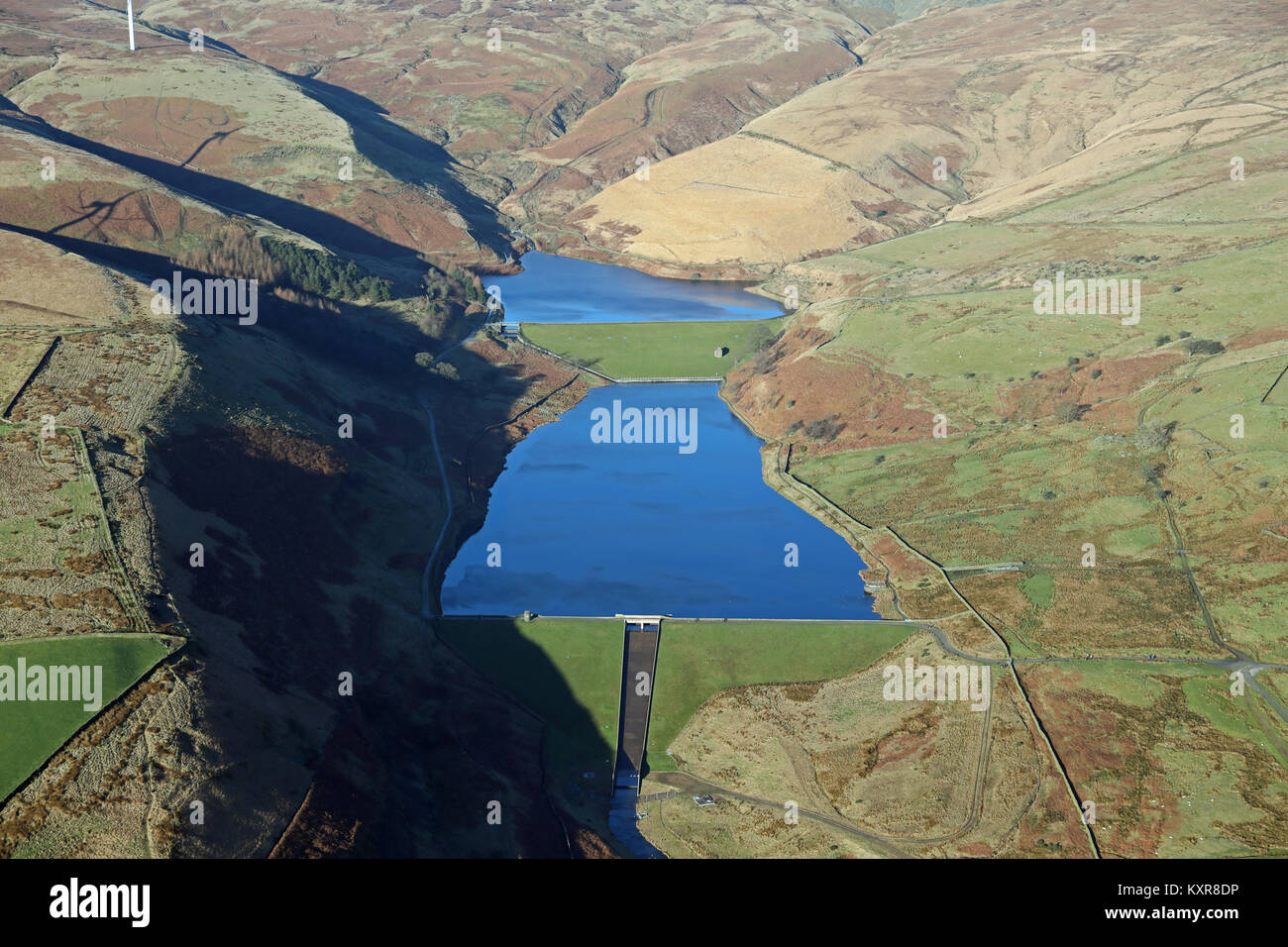 aerial view of Naden Higher & Naden Middle Reservoirs near Bury, UK - Stock Image