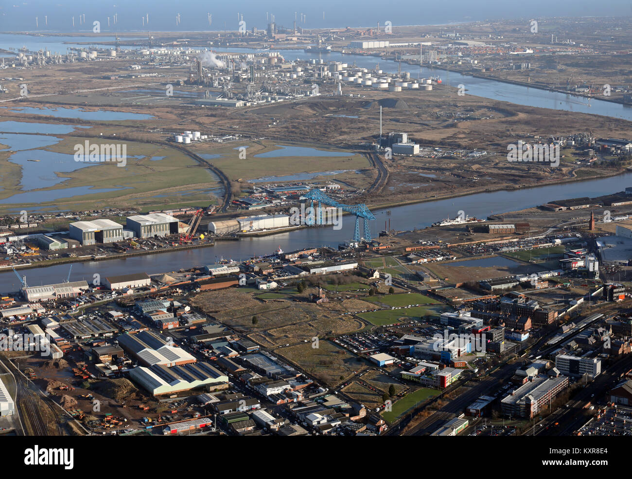 aerial view of the Transporter Bridge & Teesside industry on the River Tees, UK - Stock Image