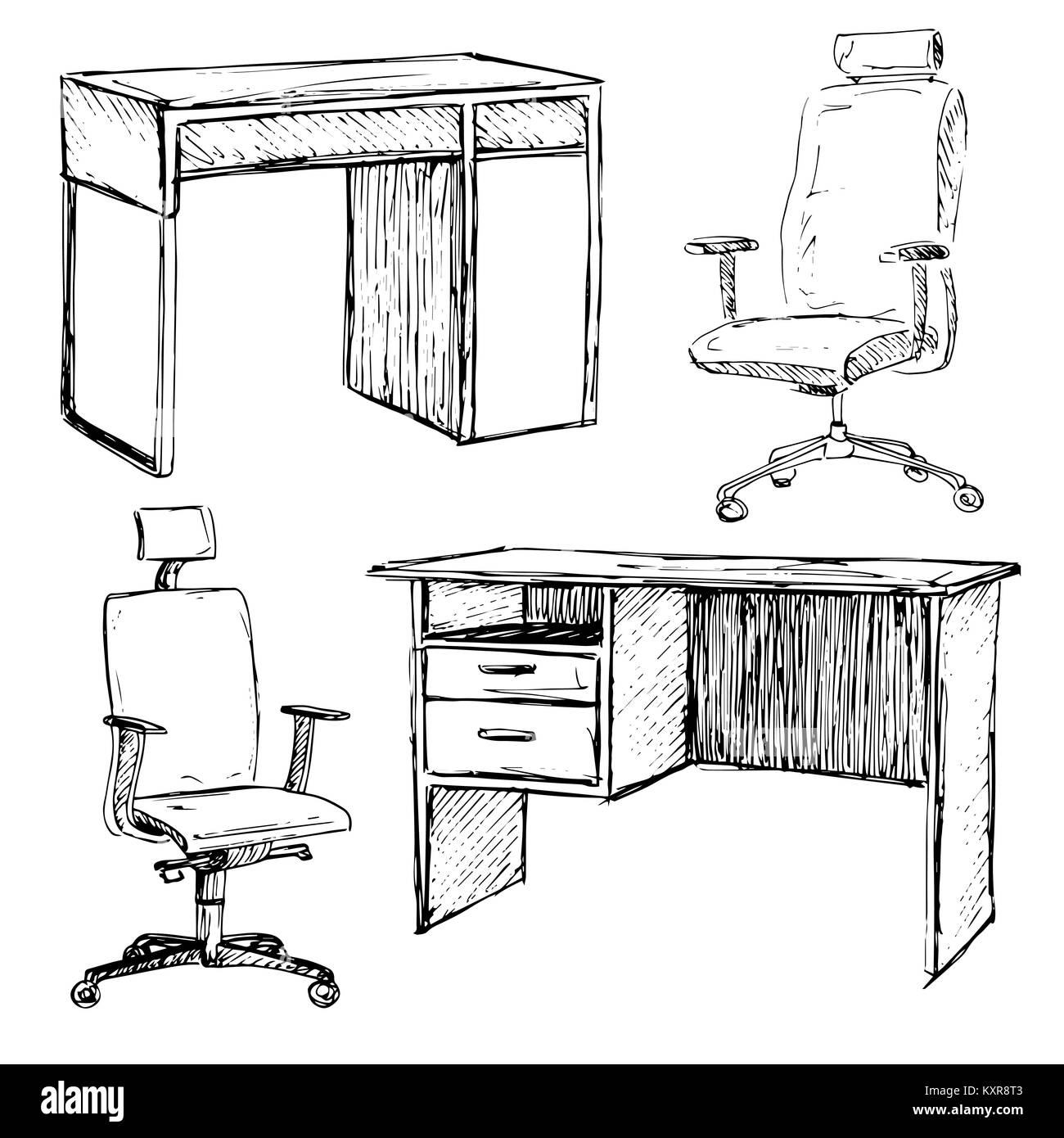 Sketch Set Isolated Furniture Different Office Chairs And Desks Stock Vector Image Art Alamy