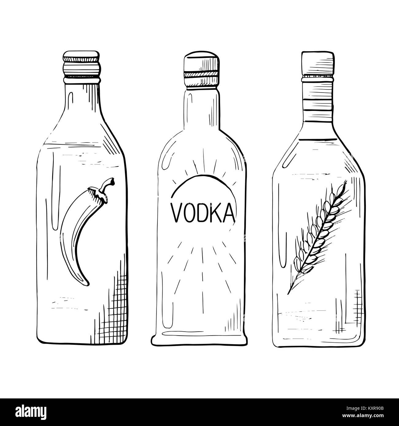 Sketch three different bottles of vodka. Pepper, classical and wheat. Vector illustration. Stock Vector