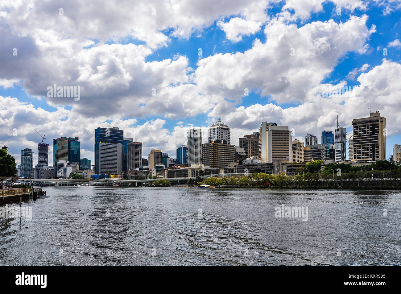 The skyline of the city with the Central Business District in Brisbane, Australia - Stock Image