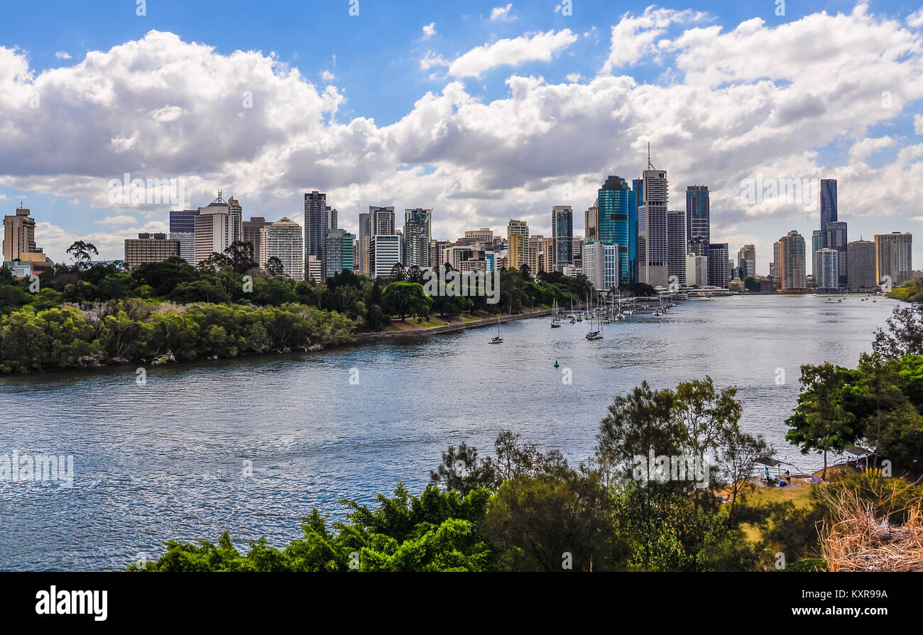 Panoramic view of the city skyline with the Central Business District in Brisbane, Australia - Stock Image