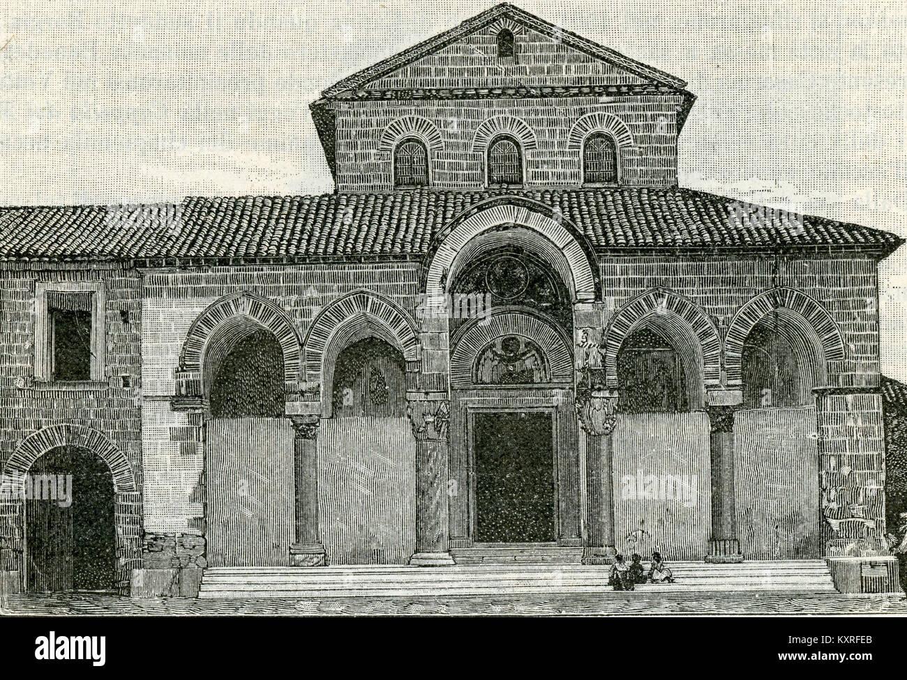 Capua prospetto esterno della basilica di Sant'Angelo in Formis Stock Photo