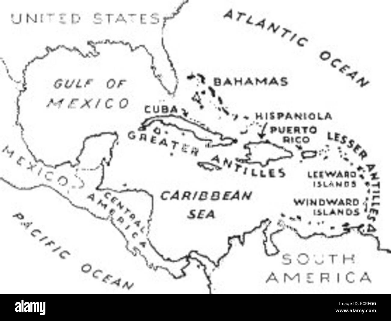 Black And White Map Of The Caribbean Caribbean Map Black and White Stock Photos & Images   Alamy