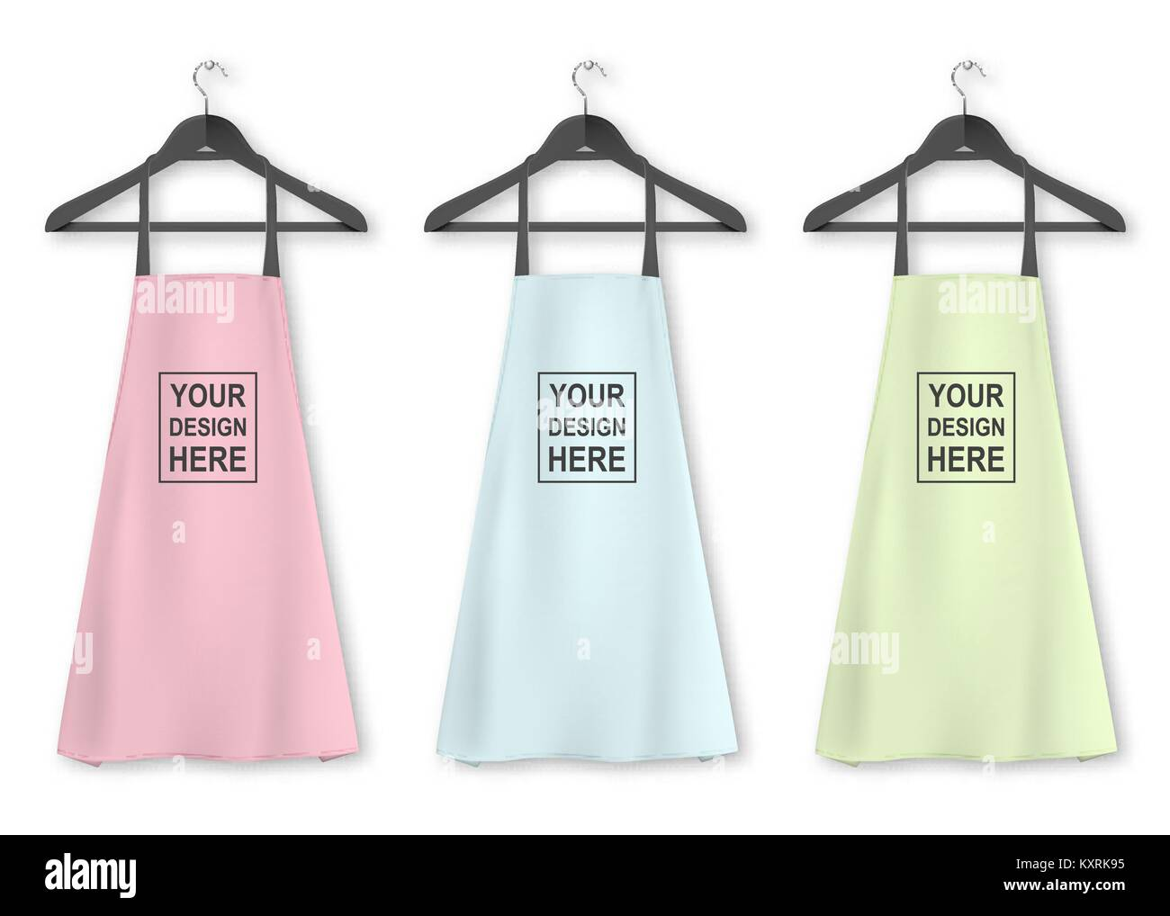 Vector cotton kitchen apron icon set with clothes hangers ...