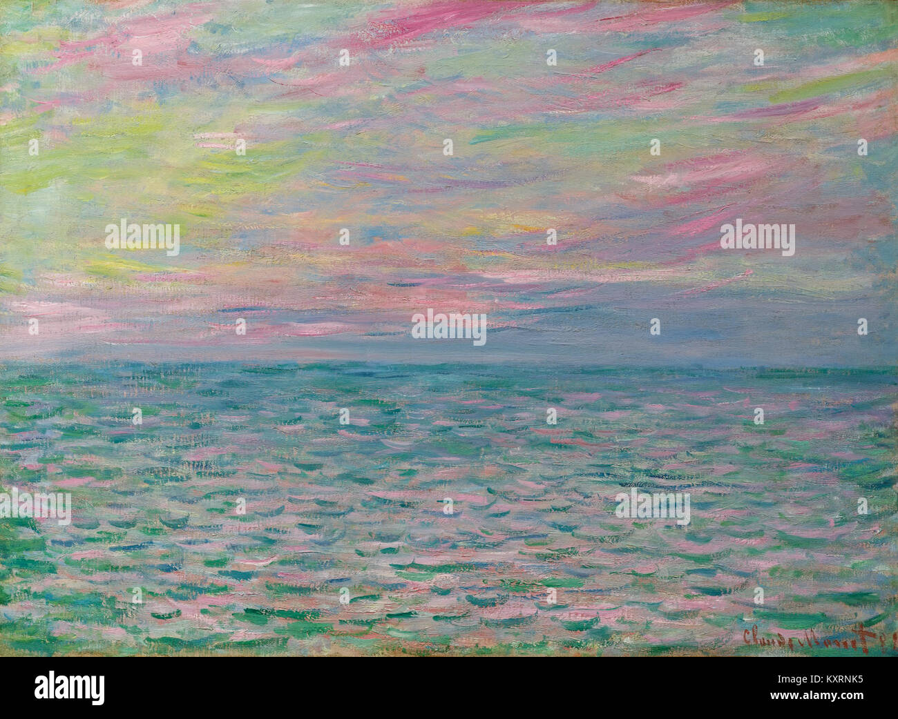 Claude Monet - Coucher de soleil à Pourville, pleine mer Stock Photo ...