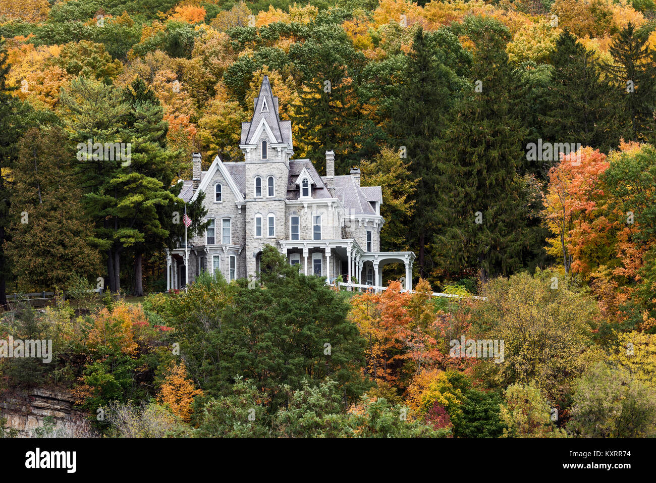 Skene Manor, a Victorian Gothic-style mansion in Whitehall, New York, USA. - Stock Image
