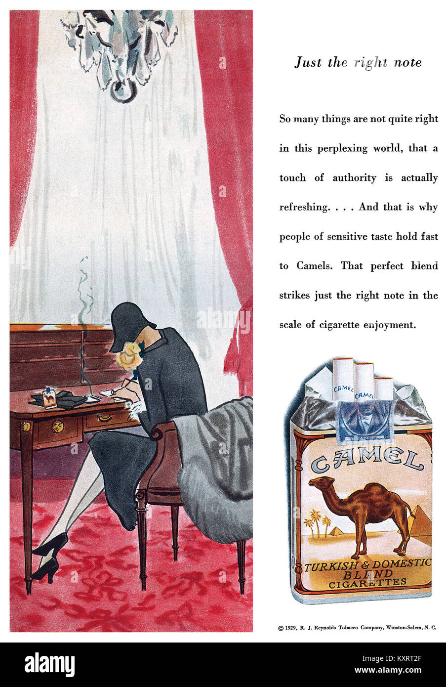 1929 U.S. advertisement for Camel cigarettes. Stock Photo