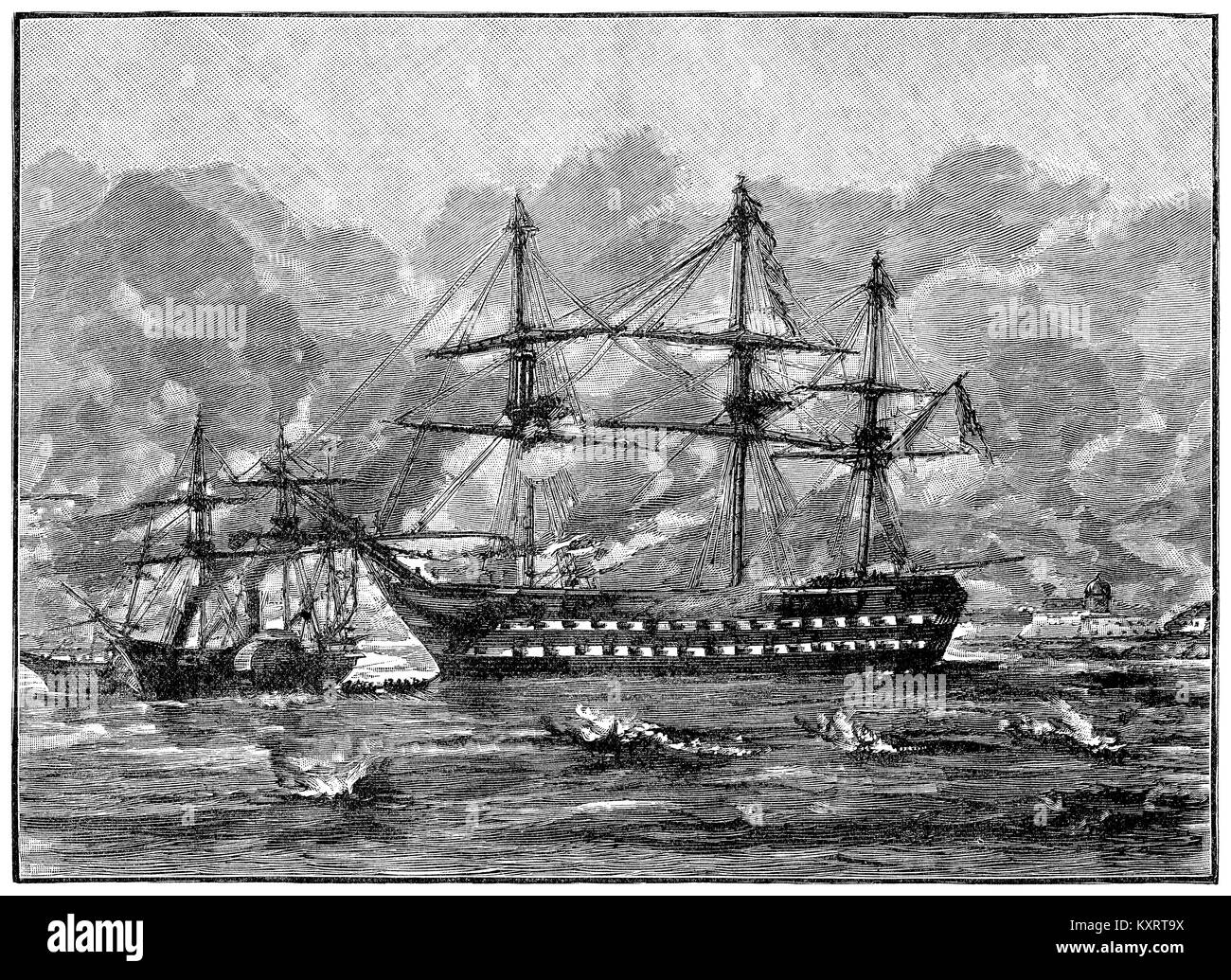 1891 wood engraving of H.M.S. Rodney at the bombardment of Sebastopol during the Crimean War on 17th October 1854. - Stock Image