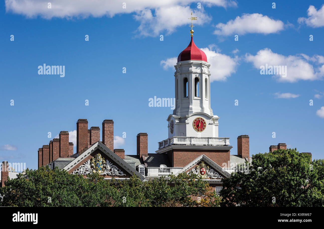 Dunster House dormitory with clock tower, Harvard University, Cambridge, Massachusetts, USA. - Stock Image