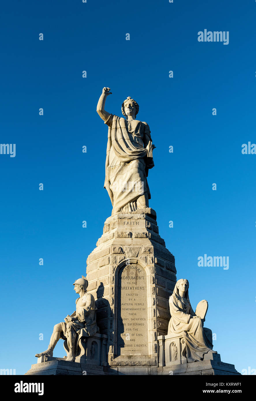 The National Monument to the Forefathers, formerly known as the Pilgrim Monument, commemorates the Mayflower Pilgrims, - Stock Image