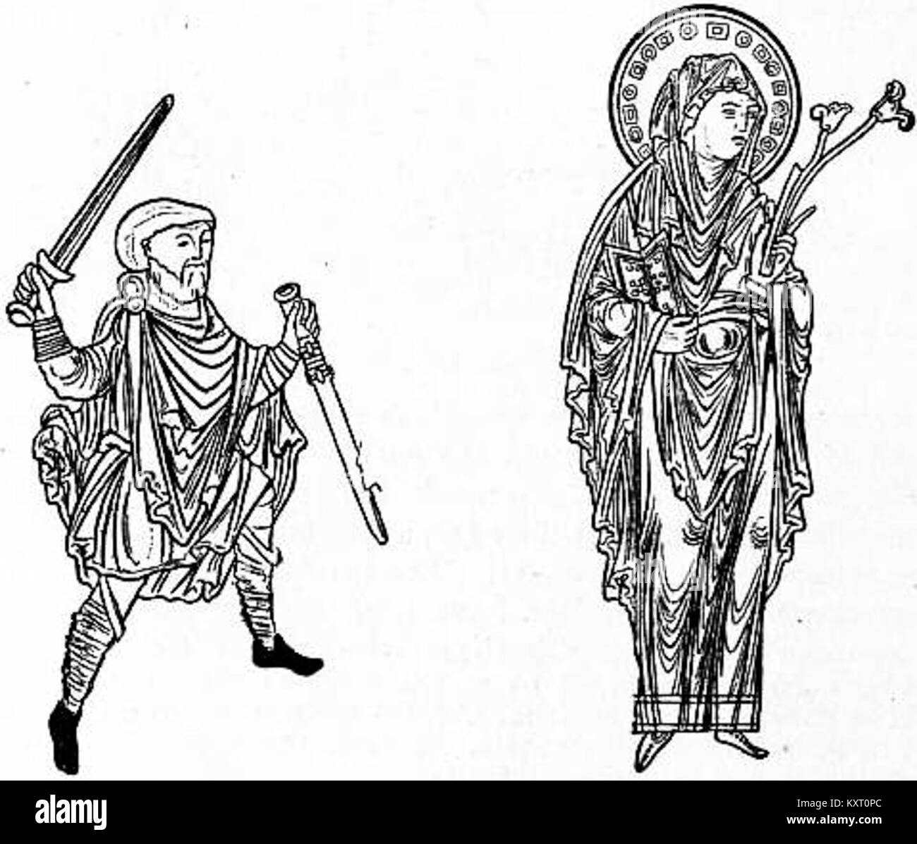 EB1911 Costume Figs. 25 & 26.—Old English Dress, Blessed Virgin - Stock Image