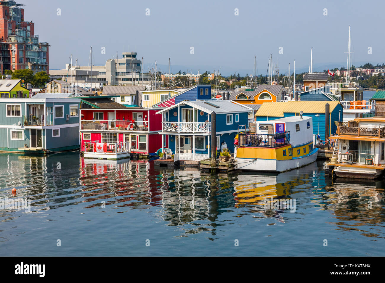 Fisherman's Wharf a colourful float home community in Victoria on Vancouver Island in British Columbia, Canada Stock Photo