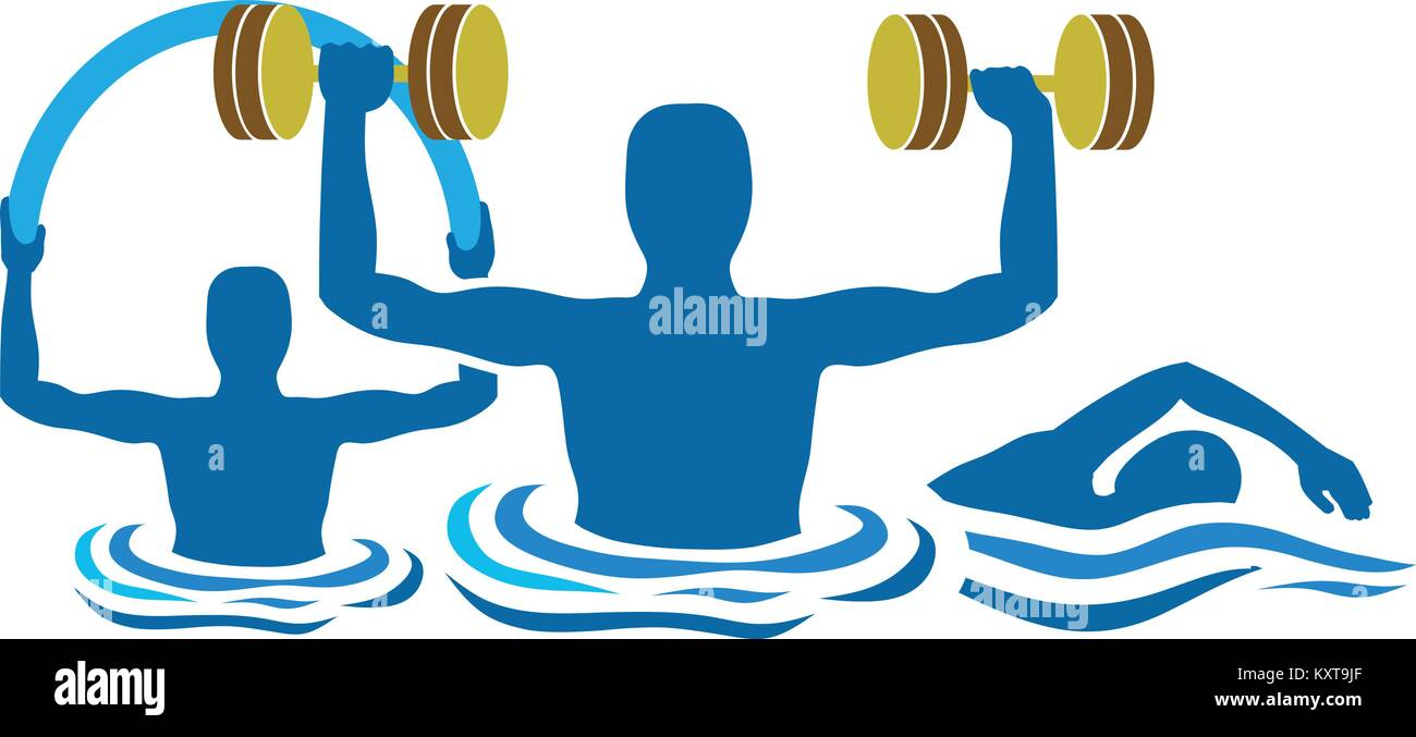 silhouette water gymnastics physiotherapy with dumbbells and swimming - Stock Vector