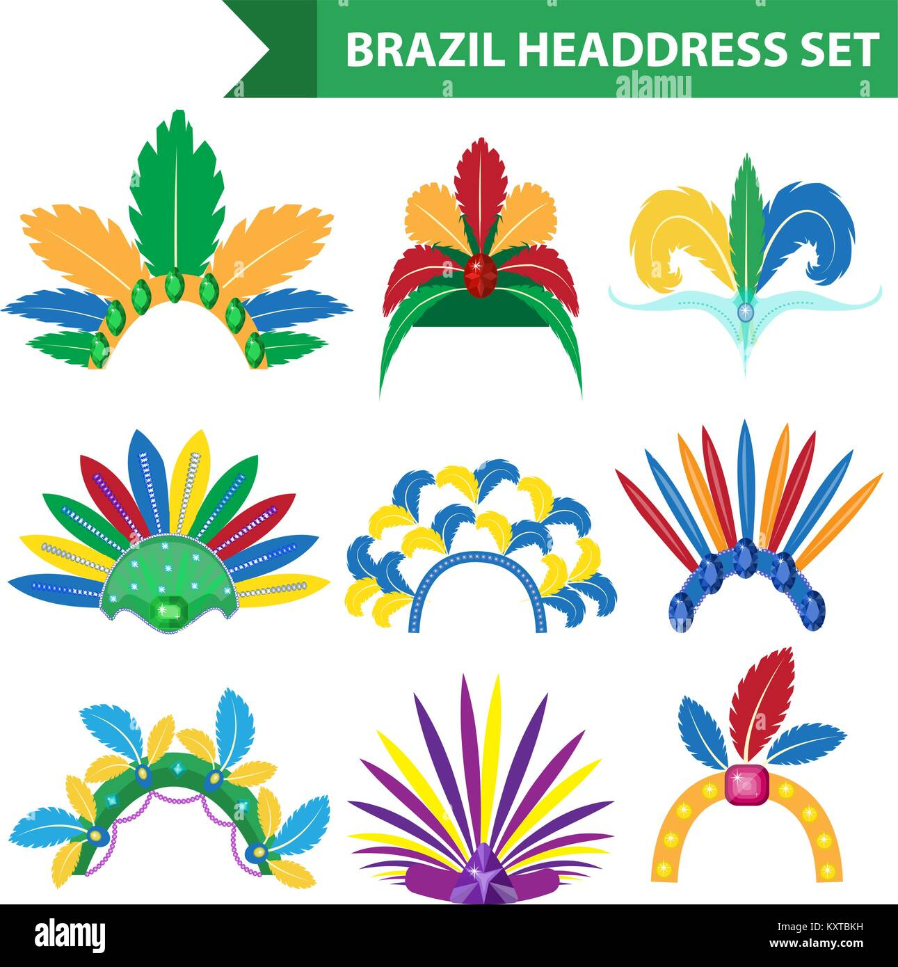 Brazil Feather Headband Headdress icons flat style. Headpiece Carnival, Samba Festival headwear. Isolated on white - Stock Image