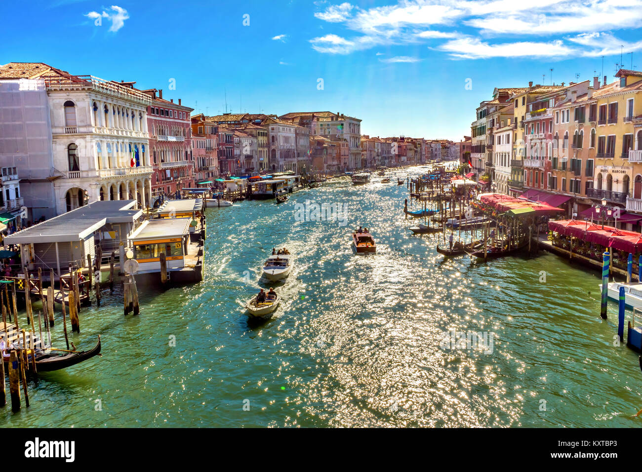Colorful Grand Canal Public Ferries Vaporetto Ferry Docks Gondolas From Rialto Bridge Touirists Grand Canal Venice Stock Photo