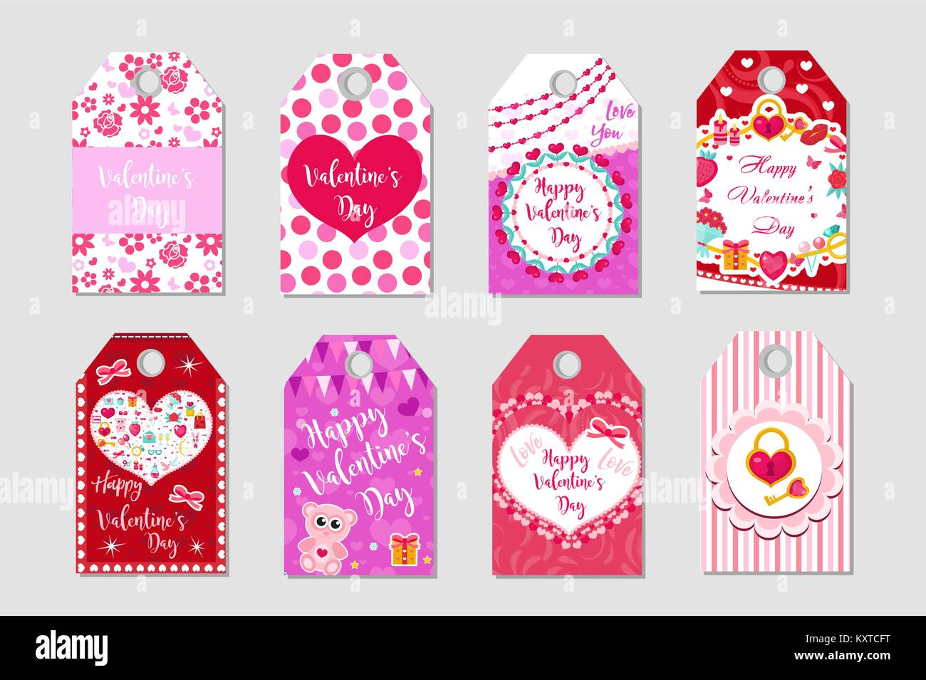 Happy Valentine S Day Tags Set Labels Collection With Heart Cute