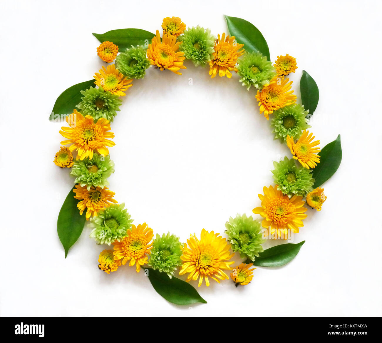 Flower Composition Round Frame Wreath Made Of Various Yellow And