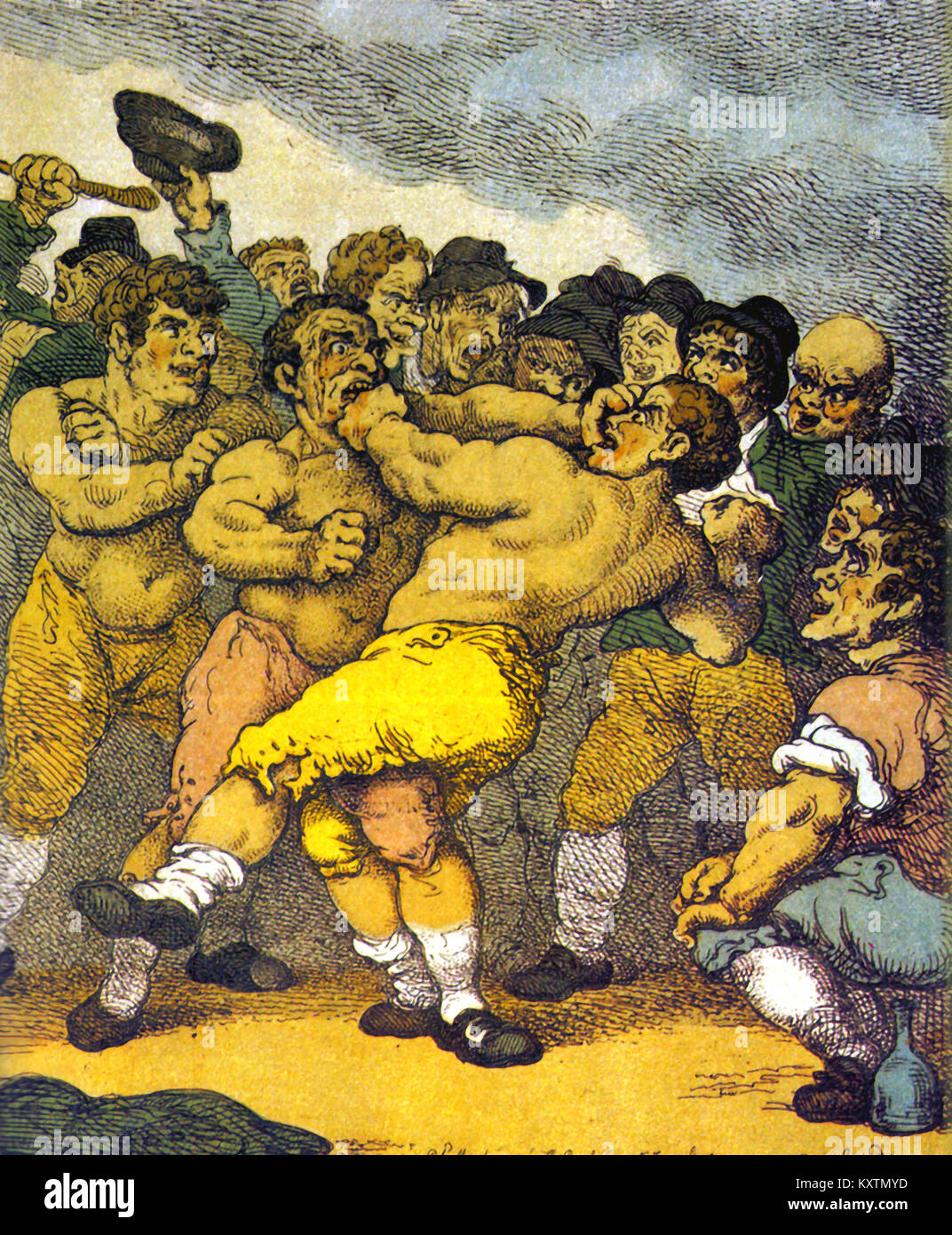 Combat Sport - British Boxing history - A bare knuckle boxing match  1811 - Stock Image