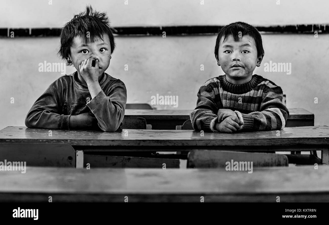boys inside classroom in a small town in Sapa, Vietnam - Stock Image