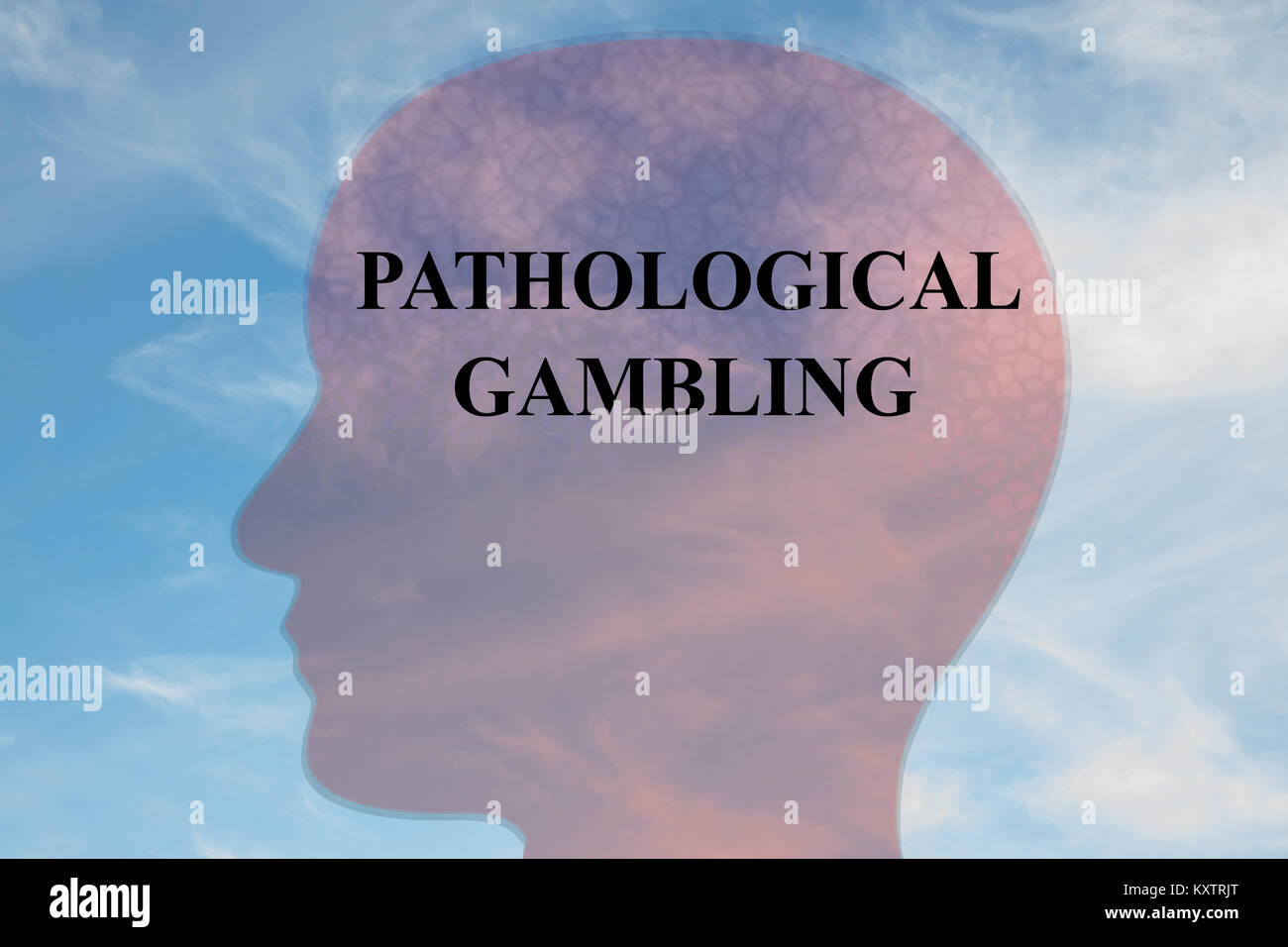Render illustration of PATHOLOGICAL GAMBLING title on head silhouette, with cloudy sky as a background. - Stock Image