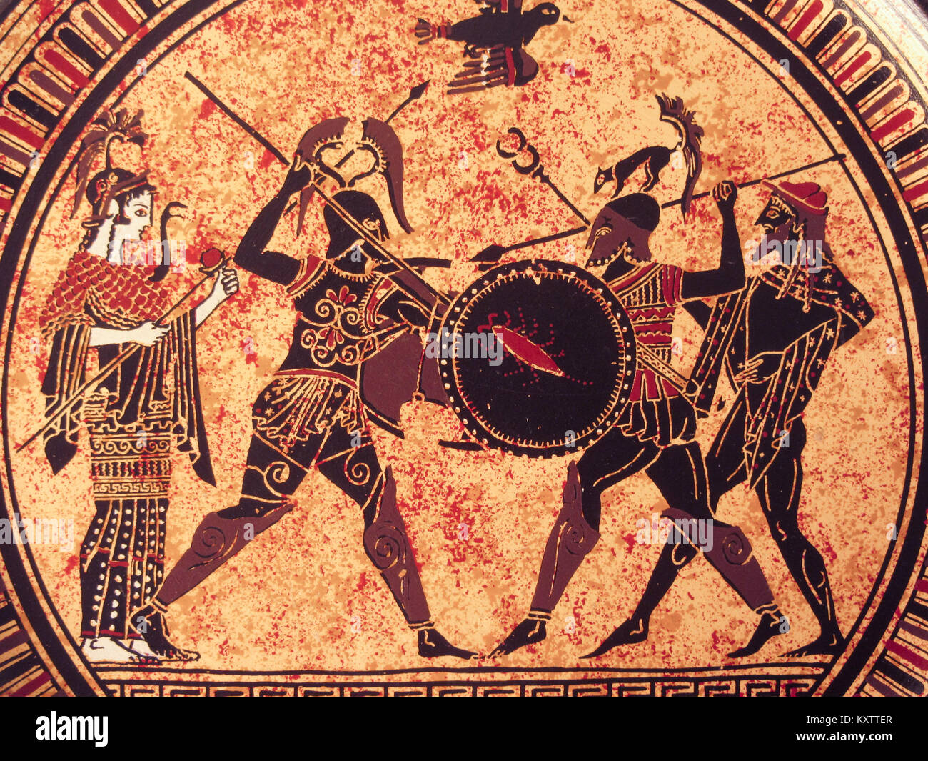 VENICE, ITALY - JULY 02, 2017: Detail from an old historical greek paint over a dish. Mythical heroes and gods fighting - Stock Image