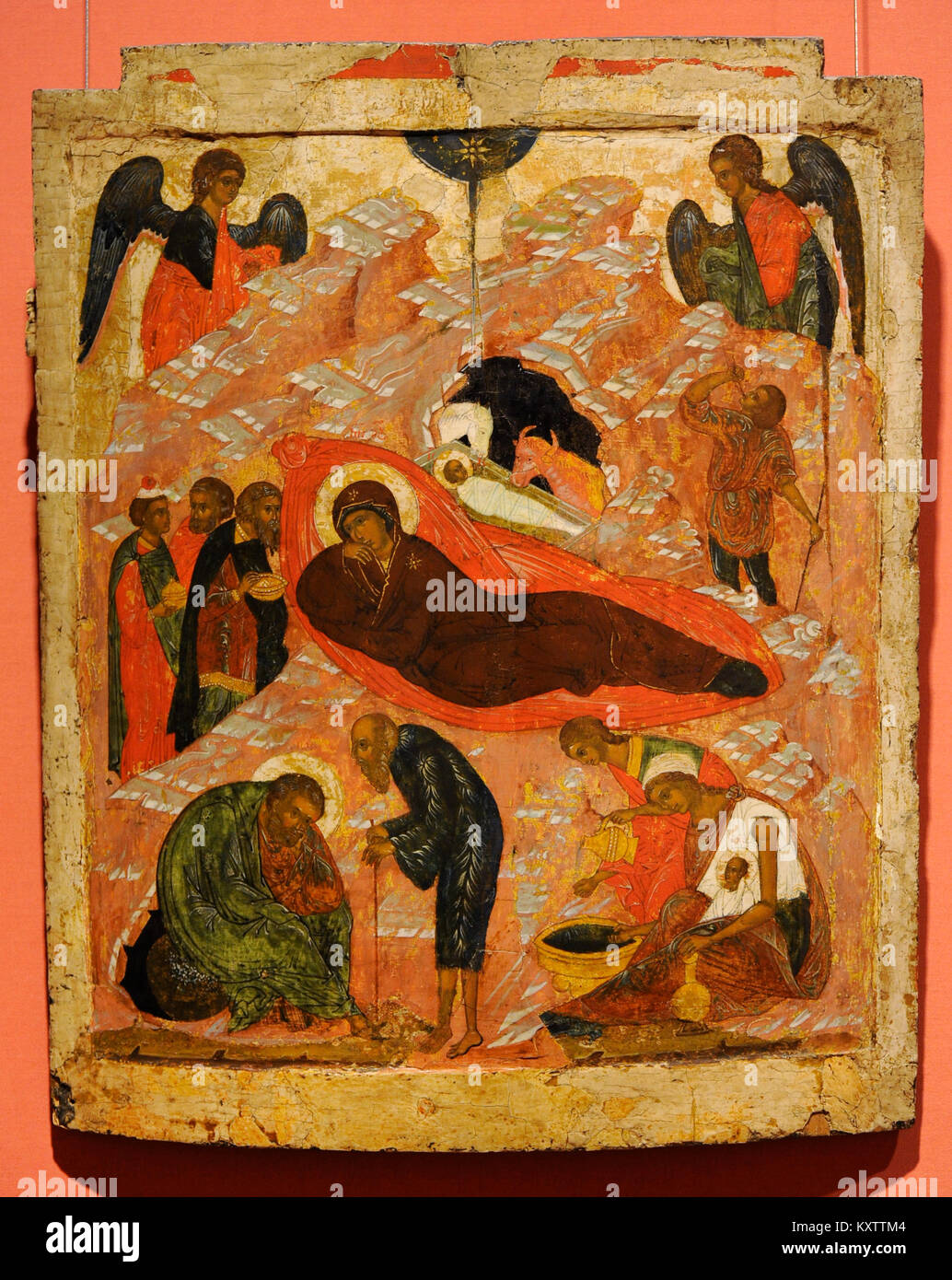 The Nativity. Russian Icon. 16th century. National Gallery. Oslo. Norway. Stock Photo