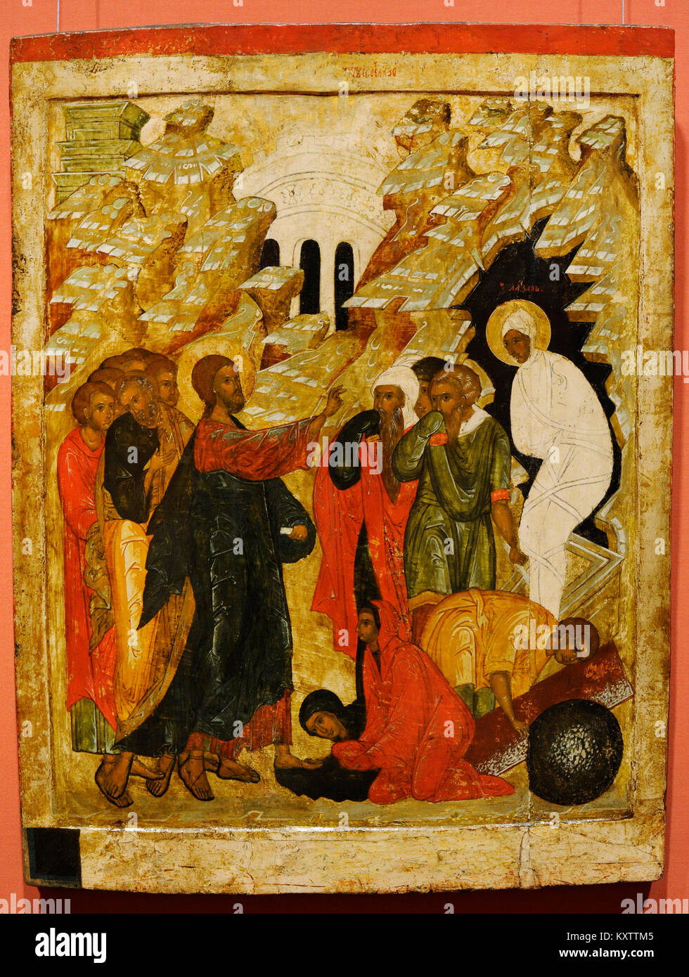 Ressurrection of Lazarus. Russian Icon. 16th century. National Gallery. Oslo. Norway. Stock Photo
