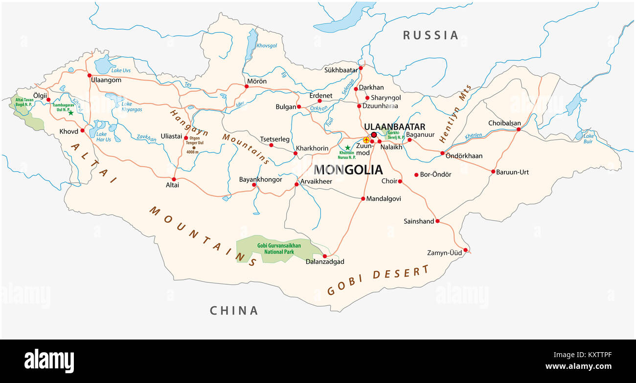 mongolia road and national park vector map - Stock Image