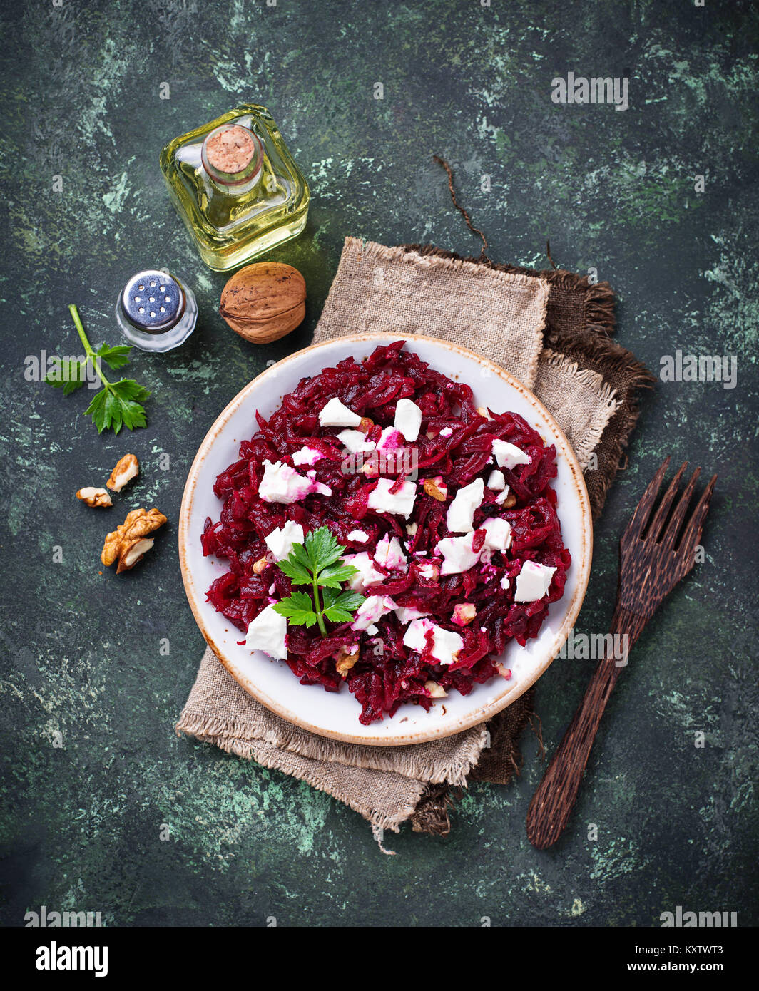Healthy beetroot salad with feta and walnuts - Stock Image