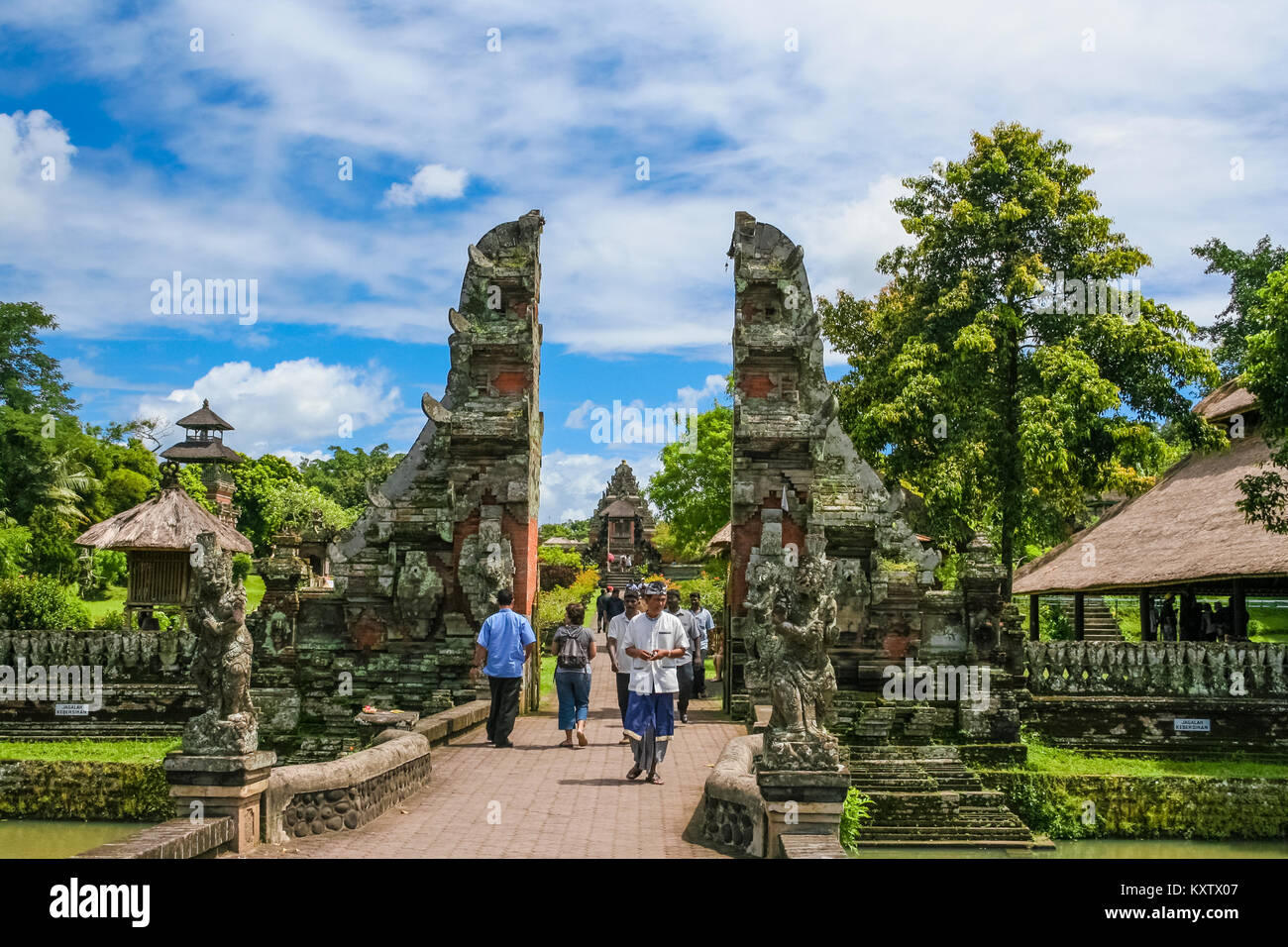 The main entrance, a split gate (candi bentar), of Pura Taman Ayun in Mengwi, Bali, Indonesia. Stock Photo