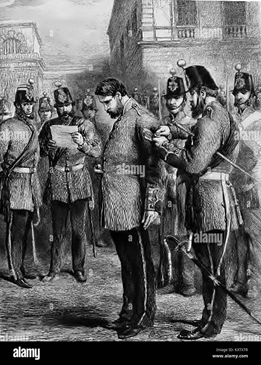 ARMY DISCIPLINE - Reduced to the Ranks - (Degradation) courtA British army officer being ceremonially stripped of - Stock Image