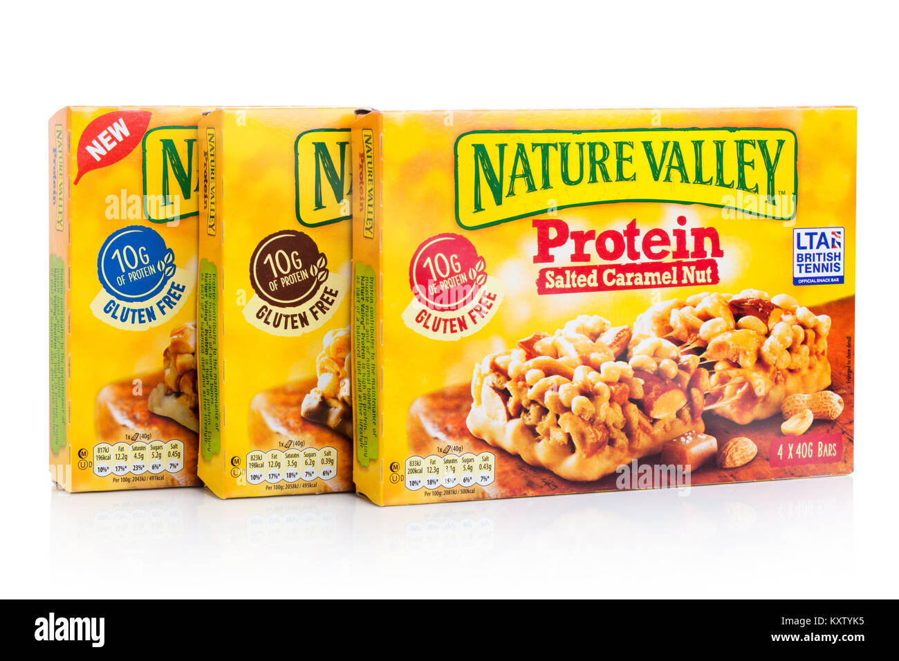 LONDON, UK - JANUARY 02, 2018: Nature Valley crunchy granola protein bars  in a boxes with on white background. - Stock Image