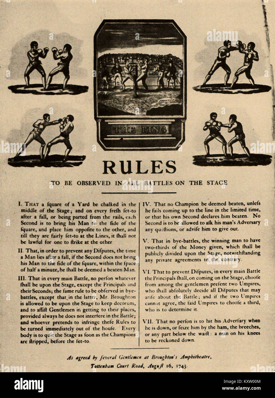 Combat Sport - British Boxing history - BOXING - A set of rules for boxing drawn up by Jack Broughton in 1743 - Stock Image