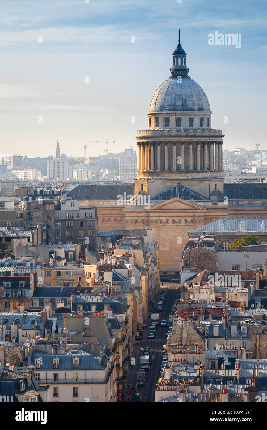 Paris skyline, view over the rooftops of the Left Bank (Rive Gauche) in Paris towards the landmark neoclassical - Stock Image