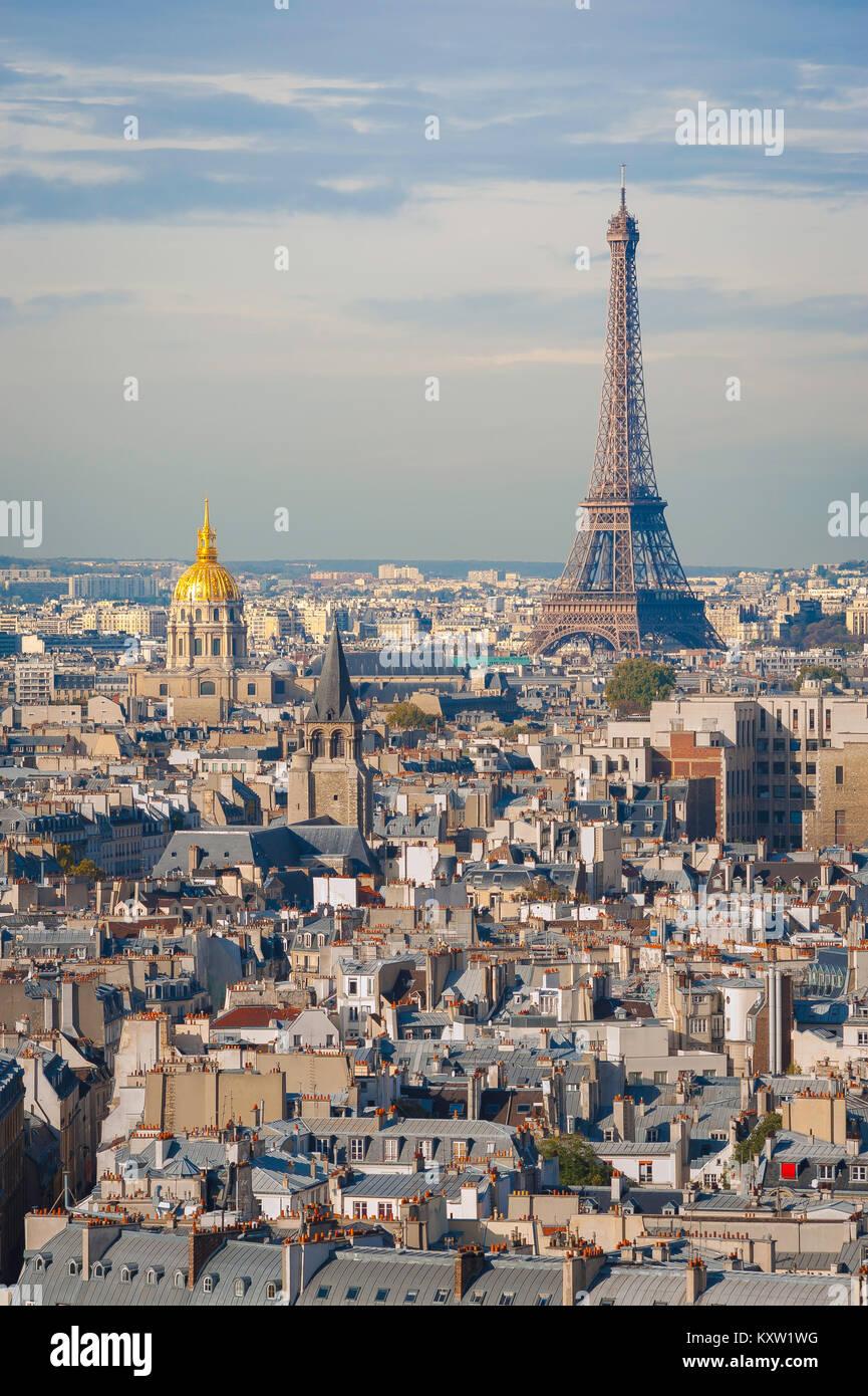 Paris cityscape aerial, a view across the rooftops of the Left Bank (Rive Gauche) of Paris towards Les Invalides - Stock Image