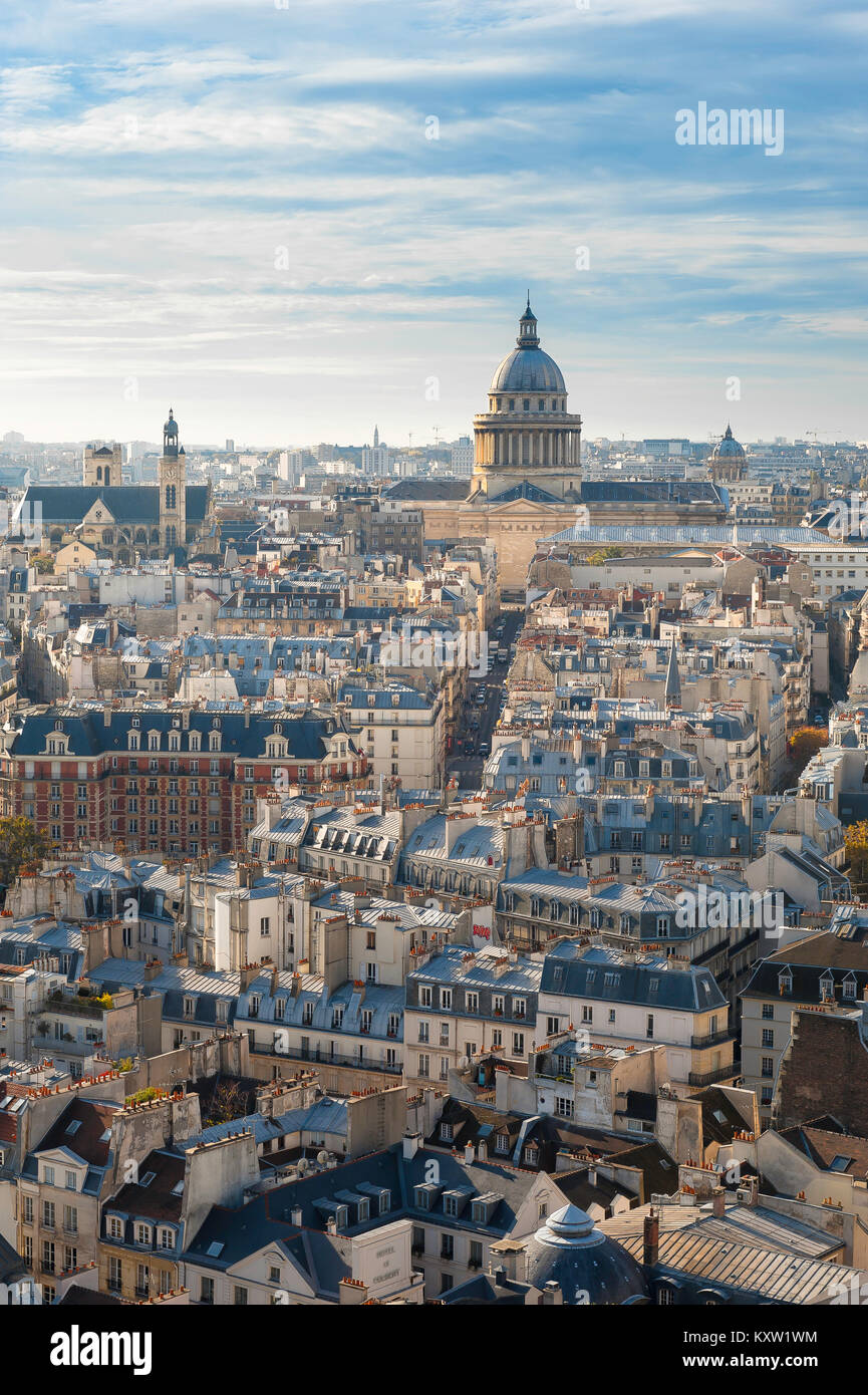 Paris Pantheon, aerial view across the rooftops of the Left Bank (Rive Gauche) of Paris towards the Pantheon building, - Stock Image