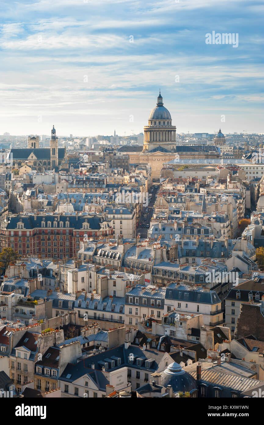 Paris cityscape, view over the rooftops of the Left Bank (Rive Gauche) in Paris towards the landmark neoclassical - Stock Image
