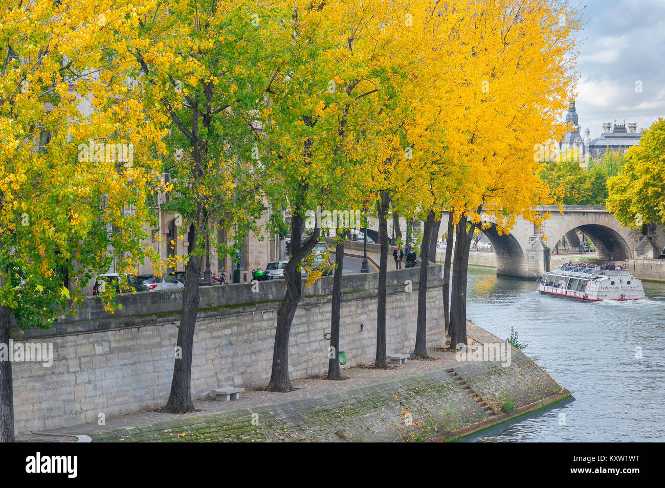 Autumn Paris, trees with colourful autumn foliage line an embankment along the Quai d'Orleans on the Ile St - Stock Image