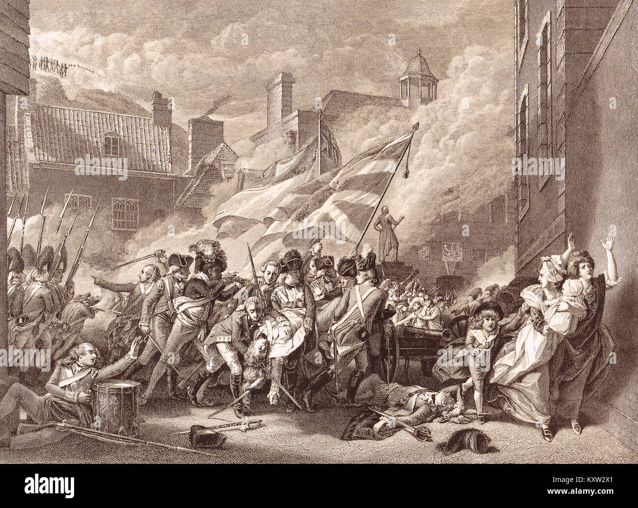 Death of Major Peirson, 6 January 1781, Battle of Jersey - Stock Image